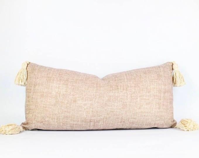 Belgian Pink Linen And Tassels Lumbar Pillow Cover 11x23