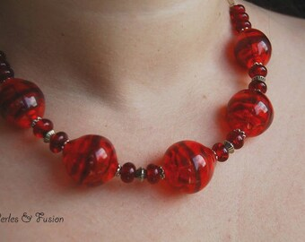 Lampwork Glass Beads necklace * sunset * red/orange - handmade lampwork necklace - glass-red necklace hand made murano glass necklace