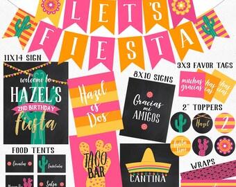 Fiesta Birthday Coordinating Printables | Fiesta Banner | Fiesta Favor Tags  | Fiesta Welcome Sign | DIGITAL FILES