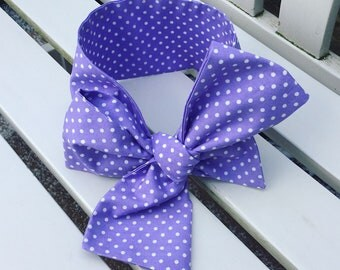 Baby or Girl's Headwrap Big Bow Cotton Headband headwrap hair accessories in lilac purple and white cotton spotty fabric