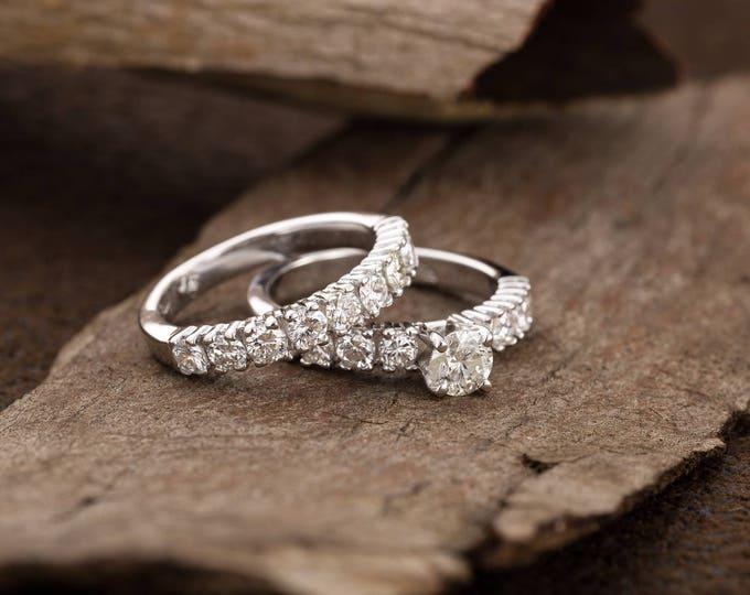 On sale!!! 2 carat wedding set Diamond Engagement Ring-14K white Gold-Promise ring-diamond engagement ring-Anniversary ring-Wedding band