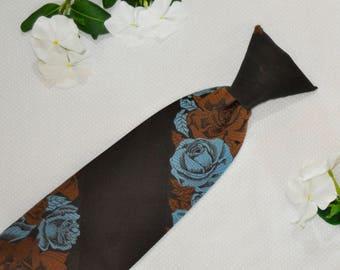 Snapper Clip On Tie - Brown/Blue Rose