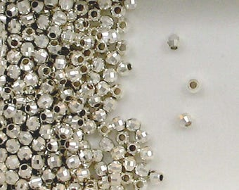 Sterling Silver 3mm Mirror Spacer Beads, Choice of Lot Size & Price