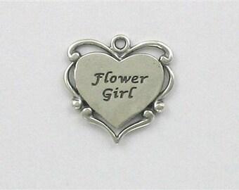 Sterling Silver Flower Girl Heart Charm