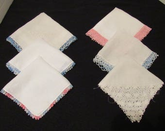 Vintage Lot 6 White Hand Crafted Linen Handkerchiefs Hankies Ladies Crochet Lace Edges Pink Blue Quilt Sewing Baby Clothes Doll Crafts