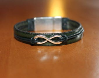 "Green, ""Infinity"" leather bracelet magnetic clasp"