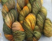 Hills in the fall - hand dyed to order sock yarn
