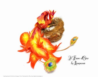 Phoenix 'Fanny' with nest. OOAK sculpture of hand-modeled magic bird with spread wing and burning tails, fantasy collectible creature Potter