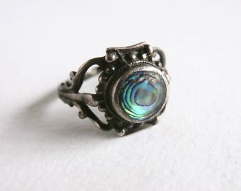 Abalone Ring - Silver Rings For Women - Vintage Silver Ring - Abalone Shell
