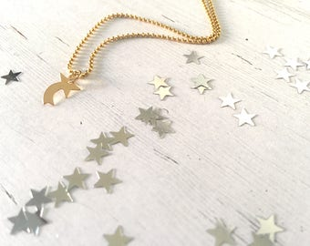 Gold filled necklace with comet star pendant