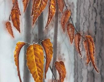 Original art Autumn leaves Small painting Fine art Wall decor Interior decorative painting Batik Art picture Nature trees Textile painted