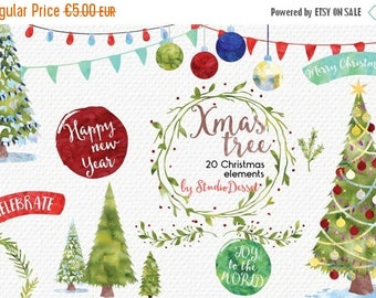 80% OFF - LIMITED TIME - Christmas Cliparts, Watercolor Christmas Clip Art, Christmas Tree, Watercolor Overlays, Winter Card Elements Commer