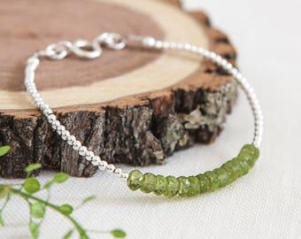 Dainty Peridot Bracelet, August Birthstone, Stacking Bracelet, Peridot Jewellery, Sterling Silver, Thin Bracelet, Faceted Gemstone Bracelet