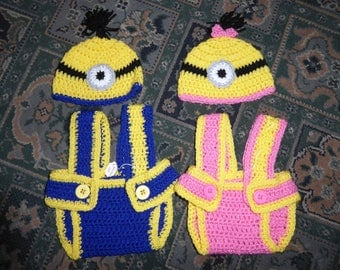 TWIN Minion outfits - photo props