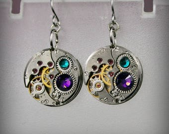 Steampunk Earrings with  Vintage Mechanical Watch Movement and Swarovski crystals , Steampunk Earrings , Clockwork Watch Movement Earrings