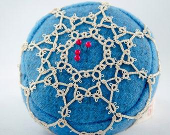 Teal Blue Tatted Pincushion Irene