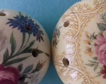 Two vintage ceramic floral pomanders      China pomanders    English China     Ye Olde Ceramic pomanders