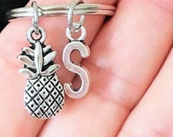 SALE - Pineapple keychain, Initial keychain, Personalized keychain, Birthday, Friendship keychain, Bff gift , Christmas gift.
