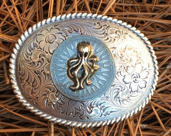 Octopus belt buckle Floral Engraved Antique Silver oval belt buckle compass belt buckle mens Belt Buckle women's belt buckle nautical buckle