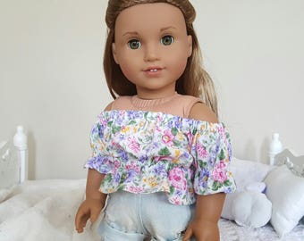 18 inch doll floral peasant blouse