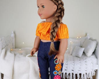 18 inch doll embroidered jeans & peasant blouse | floral jeans | orange crop top