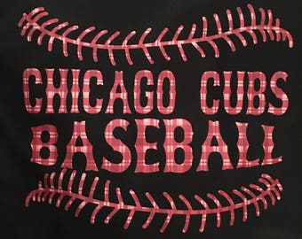 Custom T-Shirts|Chicago T-Shirt|Chicago Cubs|Baseball Shirt|Plaid Chicago Cubs Shirt