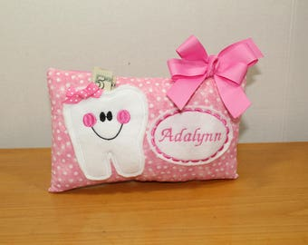 Girls Tooth Fairy Pillow-Personalized Tooth Fairy PIllow-Pink Tooth Fairy Pillow-Pink Polka Dot Tooth Fairy Pillow-Polka Dot Pillow