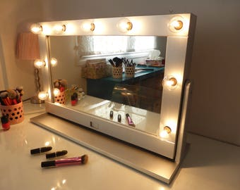 stand up vanity mirror with lights. Vanity mirror with lights and stand  Tilted hollywood Free standing swivel Make up Mirror Many colours
