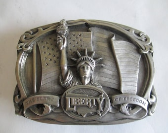 Belt Buckle - Statue of Liberty - Father's Gift - Inscription on Back - Emma Lazarus - Made in USA - 1985 - Very Attractive