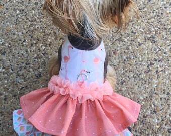 Fun Flamingos Double Ruffle Harness Customizable to your dogs measurements!  Size  XXS XS Small