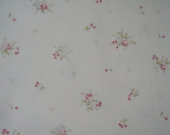 """Half Yard of (Dobby Fabric)Tiny Roses and Cherries on Soft Pink Background by Yuwa Fabric. Approx. 18"""" x 42"""" Made in Japan"""