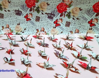 "Lot of 1,000pcs 1.5"" ""Love Message"" Origami Cranes Hand-folded From 1.5""x1.5"" Square Paper. (WR paper series). #FC15-64."
