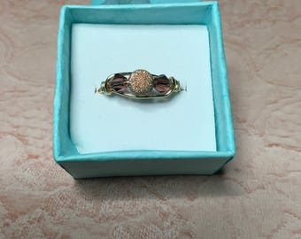Rose gold sparkle ring with two crystals