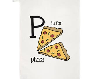 Letter P Is For Pizza Tea Towel Dish Cloth