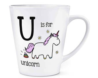 Letter U Is For Unicorn 12oz Latte Mug Cup