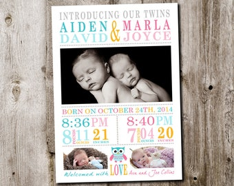 Custom twins baby girl  boy birth announcement - printable digital file