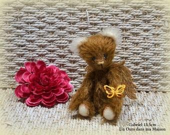 VENDU *** !! Gabriel ours ange d'artiste miniature 13.5cm collection mohair dentelle fsl 100% fait main pièce unique OOAK