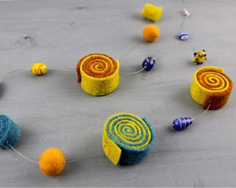 Yellow, blue Felt and Lampwork Glass Beads Necklace, Nickel free