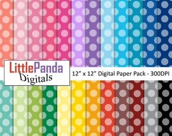 70% OFF SALE Polka dots digital paper, scrapbook papers, wallpaper, background, commercial use - D453