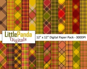 50% OFF SALE Thanksgiving Plaid Digital Paper, Background, Scrapbook Papers, 24 jpg files 12 x 12 - Instant Download - D435