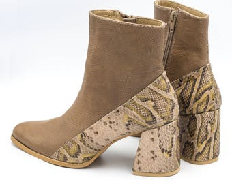 Brown Leather Boots,Snakeskin Booties, High Heels Boots, comfortable Boots, Custom made Booties, Women Leather Boots, Pointed toe Boots