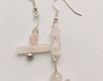 Rose quartz drop earrings mismatched