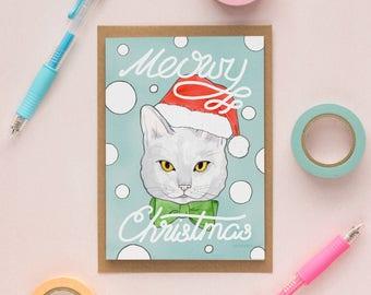 Cat Christmas Card, Cat Holiday Card, Funny Christmas Card, Funny Cat Card, Cute Cat Greeting Card, Kitty Card, Santa Hat, Meowy Christmas