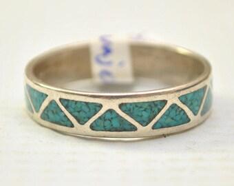 Navajo Turquoise Wedding Band Ring Sz 115 9156