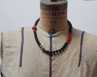 Vintage Chinese Black Onyx Red Cloisonne Necklace