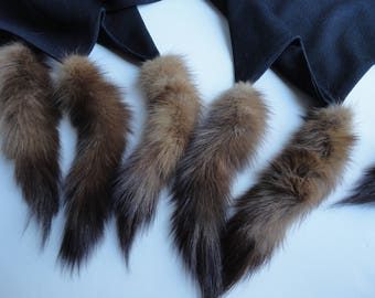 Vintage mink tail scarf, large black stole, black evening wrap, retro fur, genuine mink, 1970's 1960's mod, barkcloth
