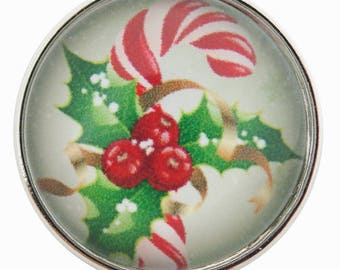 C0133 Art Glass Print Chunk - Candy Cane and Holly