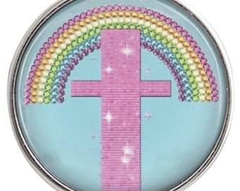 C0896  Art Glass Print Chunk - Pink Sparkling Rainbow Cross