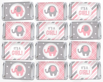 Elephant Mini Candy Bar Wrappers - Girl Mini Chocolate Bar Wraps - Printable Party Favor Labels - Nugget Wraps - Pink and Gray Baby Shower