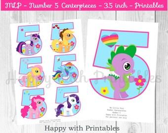 Pony Centerpieces - Pony number 5 Centerpieces - 3.5 inch Centerpieces - Pony party - Pony printable - MLP party